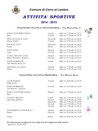 Attività Sportive 2014 - Comune di Cerro al Lambro