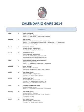 CALENDARIO GARE 2014 - Golf Club Ambrosiano