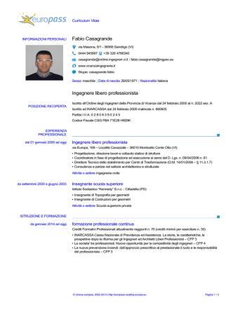CV ing Casagrande - Gazzetta Amministrativa