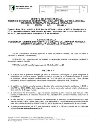 D.D.P.F. 209/CSI del 12/06/2014. - PSR 2007-2013