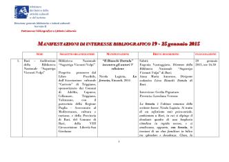19 - 25 gennaio 2015 - Direzione Generale per i Beni Librari e gli