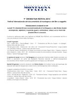 9° OROBIE FILM FESTIVAL 2015 - Associazione Montagna Italia