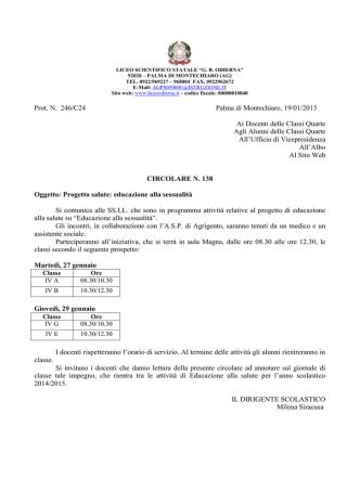 Circolare n. 138 - Liceoodierna.it