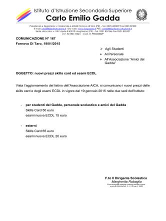 2014-15 Comunicazione 167 Nuovi prezzi ECDL