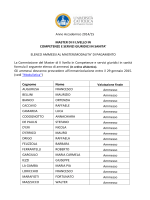 Anno Accademico 2014/15 MASTER DI II LIVELLO IN