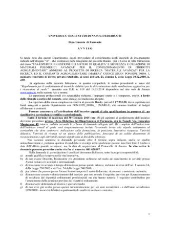 1 UNIVERSITA - Università degli Studi di Napoli Federico II