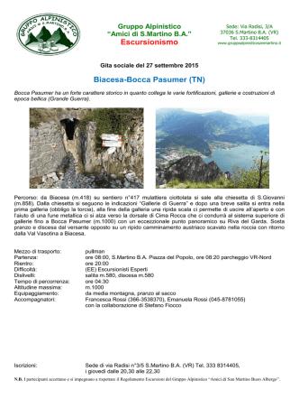 Biacesa-Bocca Pasumer (TN) - Gruppo Alpinistico