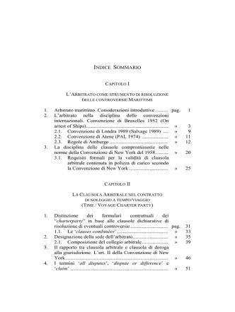 1. Arbitrato marittimo. Considerazioni introduttive .......... pag. 1 2. L