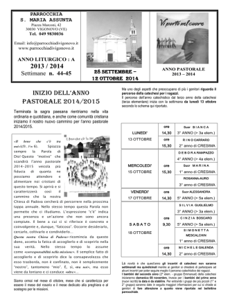 Bollettino parrocchiale (dal 28 settembre al 12 ottobre)