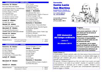avvisi dal 26 ottobre - Parrocchie di Santa Lucia e Sarano
