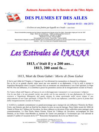 bulletin 44.3 special ete 2013 - Auteurs Associés de la Savoie et de l