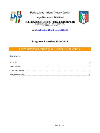 Comunicato Ufficiale N° 6 del 23/10/2014