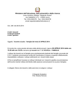 15.30 alle ore 18.30 si terranno gli incontri del 2° QD SCUOLA