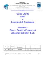 Elenco servizi e prestazioni laboratori SIMT e di ematologia