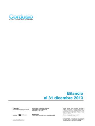 Bilancio al 31 dicembre 2013