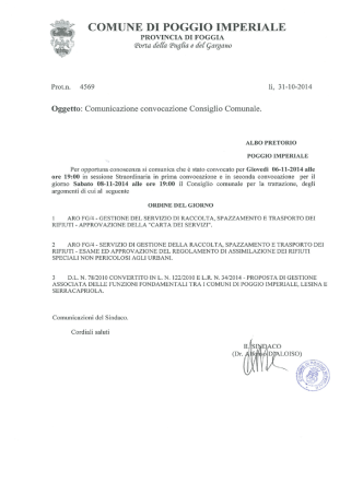 Convocazione Consiglio Comunale per il 6 novembre 2014