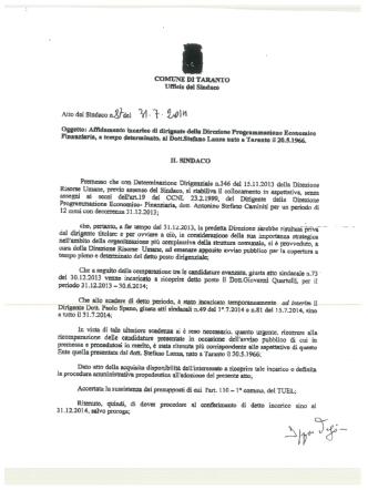 Conferimento incarico temporaneo di Dirigente al Dott. Stefano Lanza
