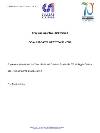 comunicato ufficiale n. 8 del 2.12.2014