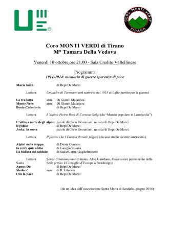 Coro MONTI VERDI di Tirano M° Tamara Della Vedova