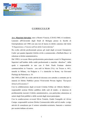 1 C U R R I C U L U M   Avv. Maurizio Salvalaio, nato a Mestre