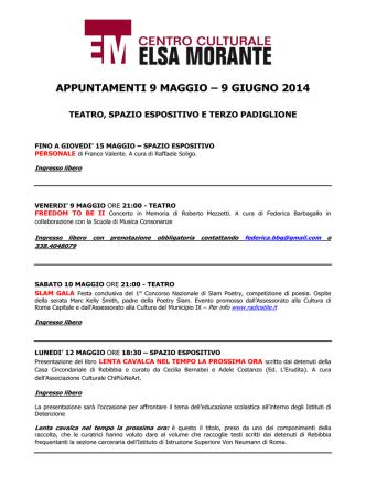 APPUNTAMENTI 9 MAGGIO – 9 GIUGNO 2014