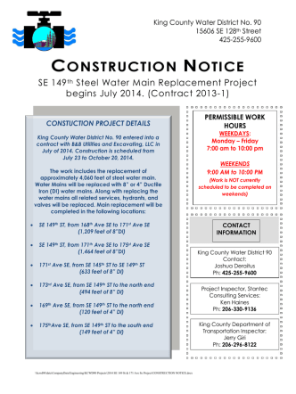 CONSTRUCTION NOTICE - King County Water District #90
