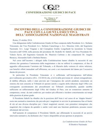 23 ottobre 2014 - Confederazione Giudici di Pace