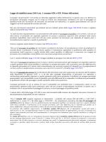 Legge di stabilità anno 2014 art. 1 comma 458 e 459. Prime