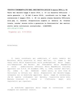 D. L. n.16-2014 coordinato con la legge di conversione n.68-2014