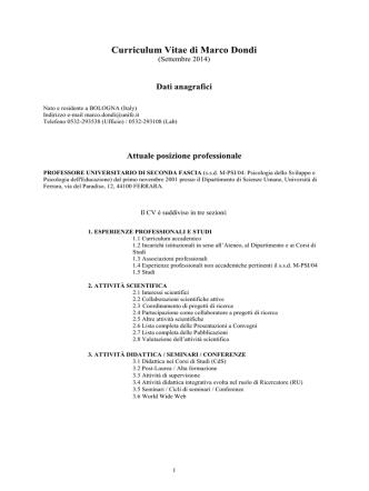 CV - Università degli Studi di Ferrara