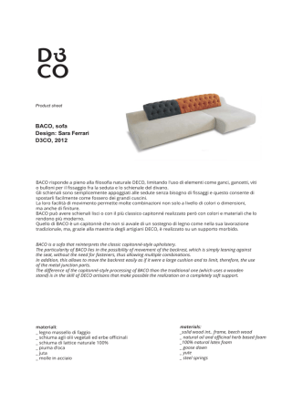 BACO, sofa Design: Sara Ferrari D3CO, 2012