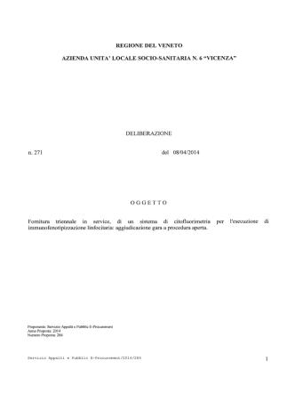 DELIBERAZIONE n.271 del 08/04/2014