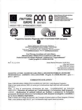 Bando Esperto Collaudatore Fesr E-1-2014-538