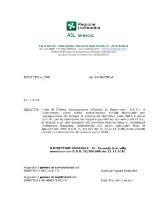 DECRETO n. 269 del 24/04/2014
