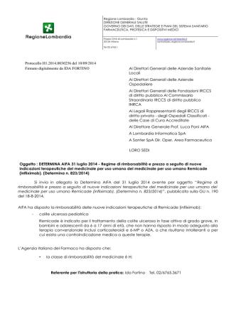 Ai Direttori Generali delle Aziende Sanitarie Locali Ai Direttori