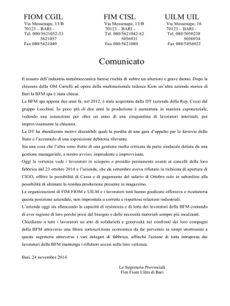 Comunicato - FIOM Bari