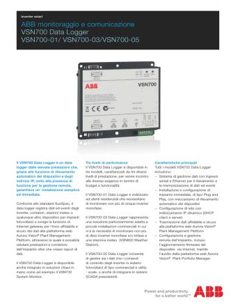 ABB monitoraggio e comunicazione VSN700 Data - Tecno