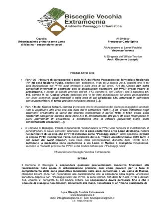 A.p.s. Bisceglie Vecchia Extramoenia www.bisceglievex.it mail: info