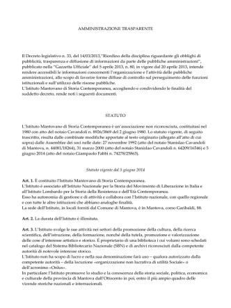 AMMINISTRAZIONE TRASPARENTE Il Decreto legislativo n. 33, del