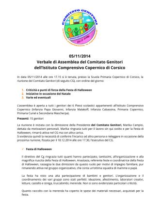 CG Verbale 05.11.2014 - Comitato Genitori Copernico