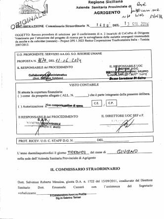 Delibera n. 1409 del 13/06/2014