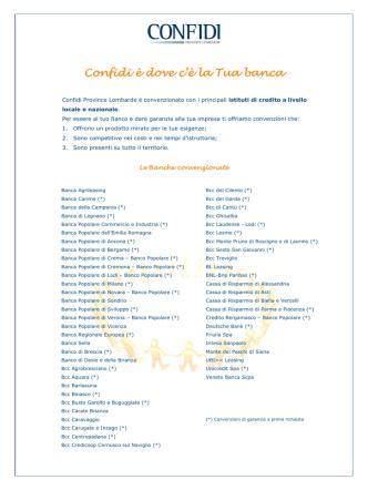Banche - Confidi