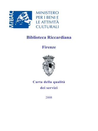 Biblioteca Riccardiana Firenze Carta della qualità dei servizi