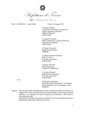 Circolare della Prefettura di Torino del 19.5.2014