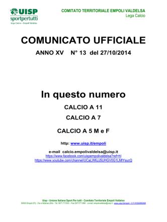 comunicato ufficiale numero 13 del 27 ottobre 2014