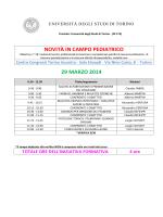NOVITÀ IN CAMPO PEDIATRICO 29 MARZO 2014