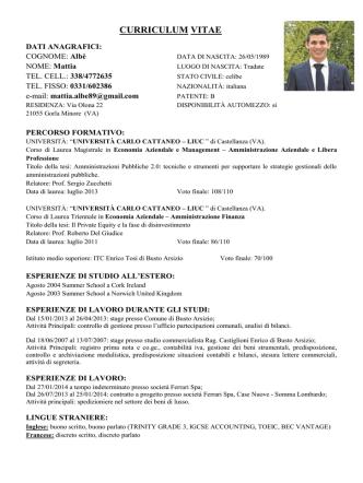 Curriculum Vitae Consigliere Comunale Albè Mattia
