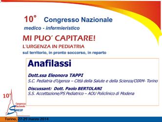 ANAFILASSI, Conduce E. Tappi, Discussant P. Bertolani