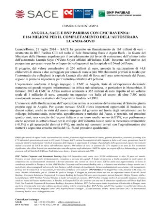 ANGOLA, SACE E BNP PARIBAS CON CMC RAVENNA: € 164