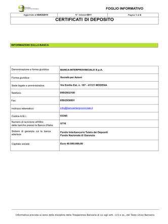 CERTIFICATI DI DEPOSITO - Banca Interprovinciale